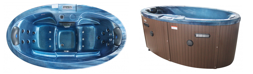 tiny two person hot tub above and side view